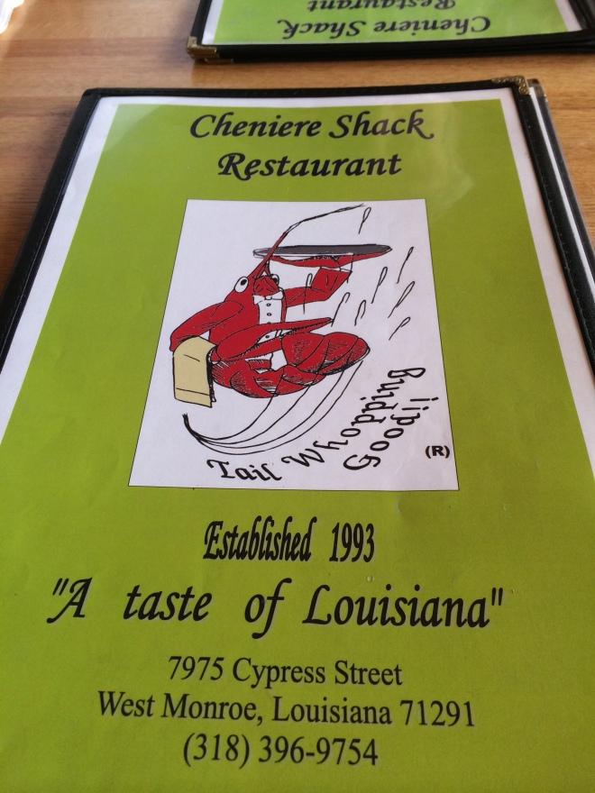Cheniere Shack menu