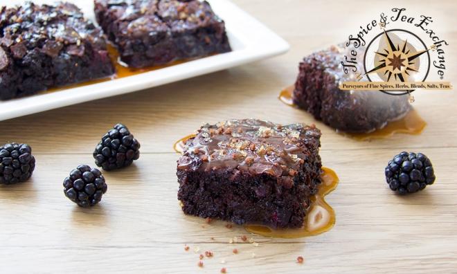 brownies, caramel, blackberry