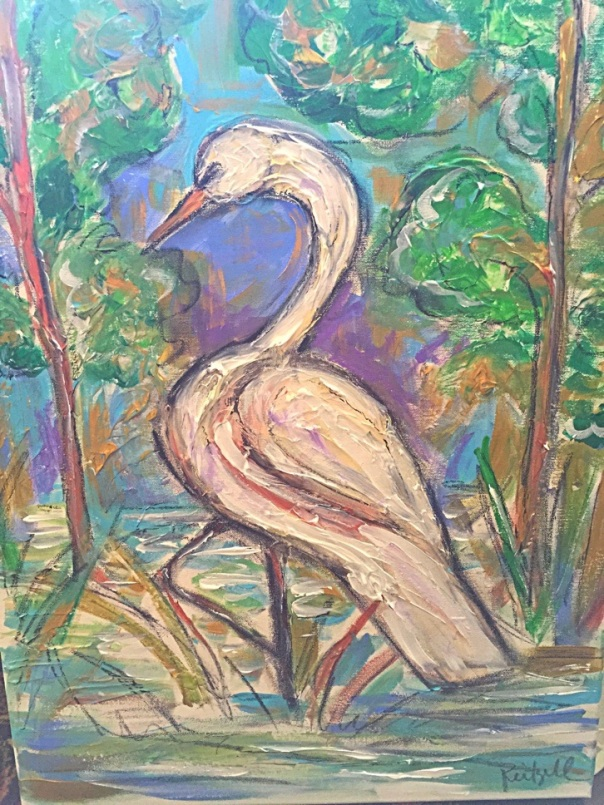 Leah Smith Reitzell, sugar gallery, egret, monreo louisiana, art